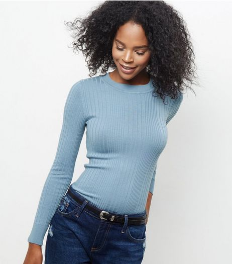 Pale Blue Ribbed Jumper  | New Look