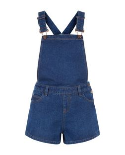 Blue Denim Pinafore Playsuit  | New Look