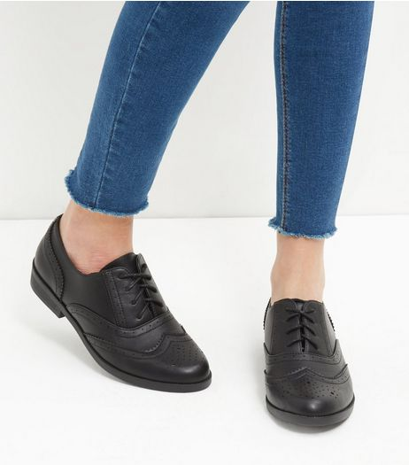 Black Embossed Brogues  | New Look