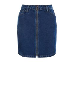 Navy Zip Front Denim A-Line Skirt  | New Look