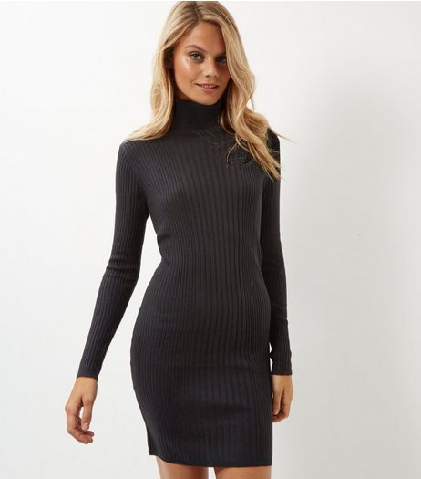 Black Ribbed Turtle Neck Dress | New Look