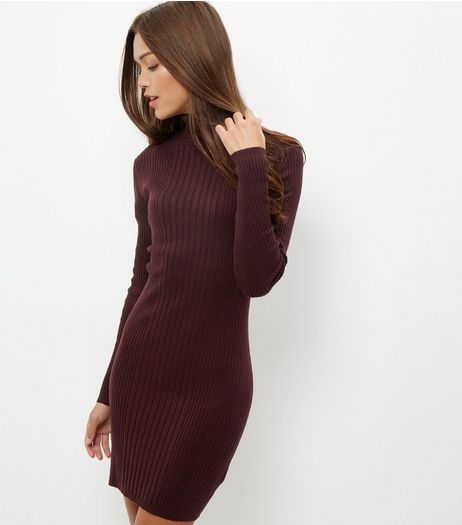 Burgundy Ribbed Turtle Neck Dress  | New Look