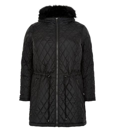 Curves Black Faux Fur Hooded Quilted Coat | New Look