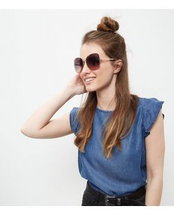 Gold Oversized Square Sunglasses | New Look