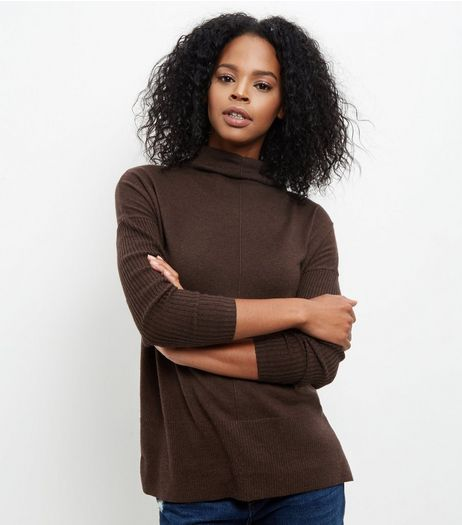 Dark Brown Funnel Neck Step Hem Boxy Jumper | New Look