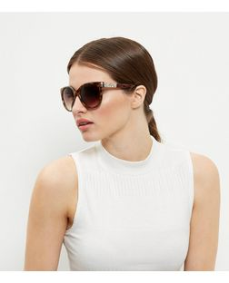 Brown Tortoiseshell Print Embellished Sunglasses | New Look