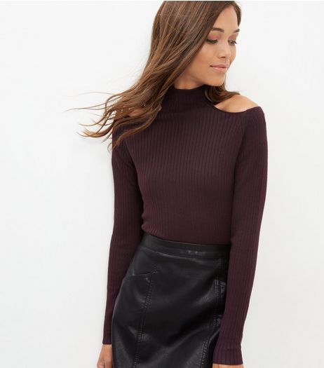 Burgundy Cold Shoulder Funnel Neck Top | New Look
