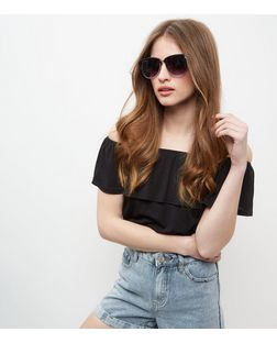 Black Half Frame Cat Eye Sunglasses  | New Look