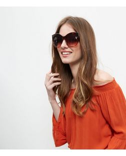 Brown Round Cat Eye Sunglasses  | New Look