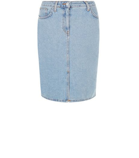 Pale Blue Denim Pencil Skirt  | New Look