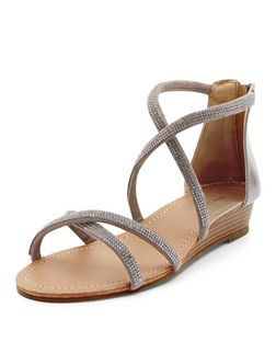 Pewter Leather-Look Diamante Cross Strap Sandals | New Look