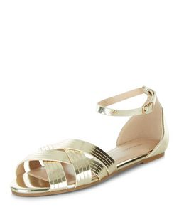 Gold Woven Cross Strap Sandals  | New Look