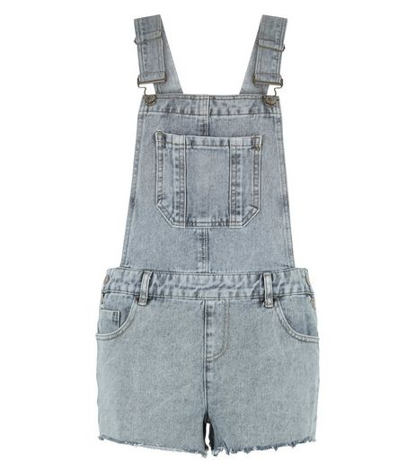 Dark Grey Denim Acid Wash Fray Hem Short Dungarees  | New Look