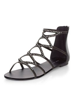 Black Diamante Embellished Cut Out Sandals  | New Look