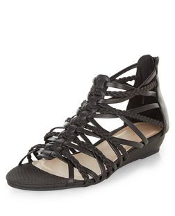 Black Plaited Multi Strap Wedge Sandals  | New Look