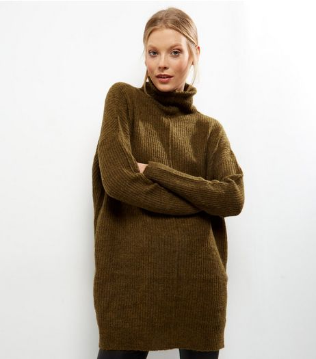 Olive Green Ribbed Funnel Neck Jumper | New Look