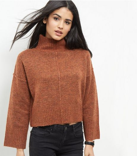 Brown Wide Sleeve Turtle Neck Cropped Jumper | New Look