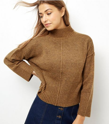 Mustard Wide Sleeve Turtle Neck Cropped Jumper  | New Look