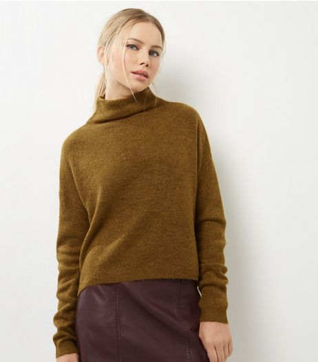 Olive Green Funnel Neck Cropped Jumper | New Look