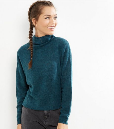 Blue Funnel Neck Cropped Jumper  | New Look