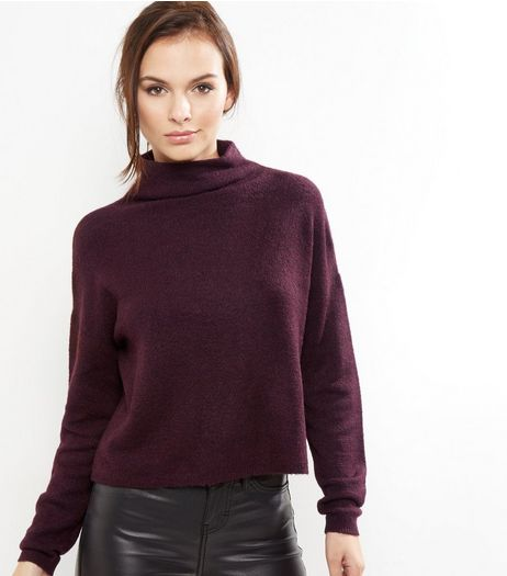 Burgundy Funnel Neck Cropped Jumper  | New Look