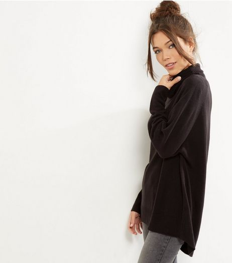 Black Oversized Cowl Neck Long Sleeve Jumper | New Look