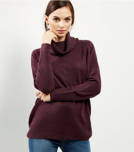 Burgundy Oversized Cowl Neck Long Sleeve Jumper  | New Look