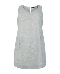 Curves Grey Linen Mix Double Pocket Tunic Dress | New Look
