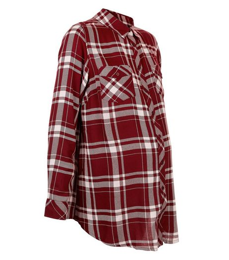 Maternity Red Check Long Sleeve Shirt | New Look