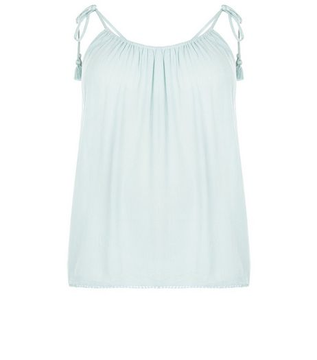 Curves Mint Green Tie Strap Cami | New Look
