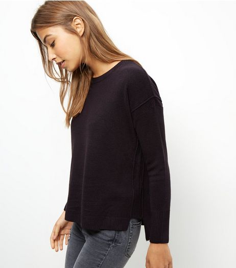 Black Reserve Seam Boxy Jumper  | New Look