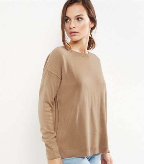 Stone Ribbed Trim Boxy Jumper  | New Look