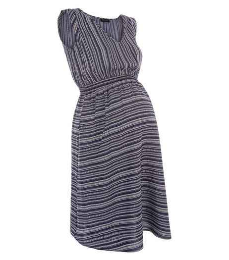 Maternity Blue Stripe V Neck Dress | New Look