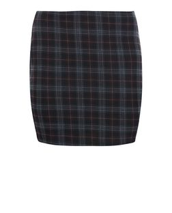 Curves Black Check Tube Skirt  | New Look