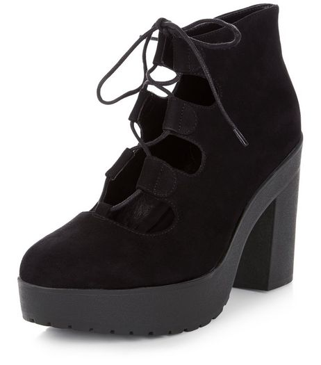 Black Suedette Chunky Ghillie Block Heels  | New Look
