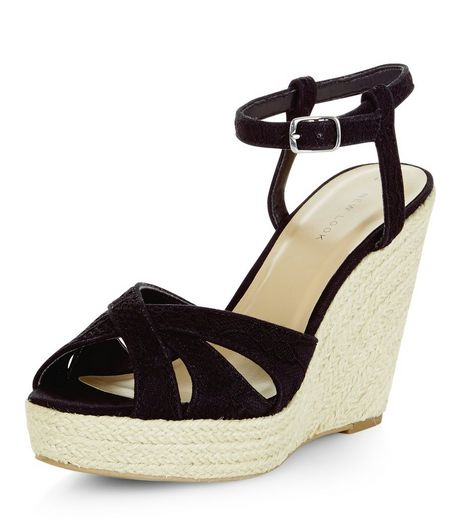 Black Lace Espadrille Wedges | New Look