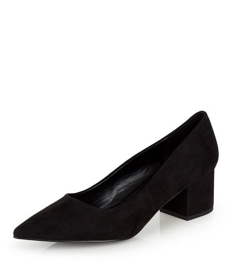Black Suedette Pointed Block Heels | New Look