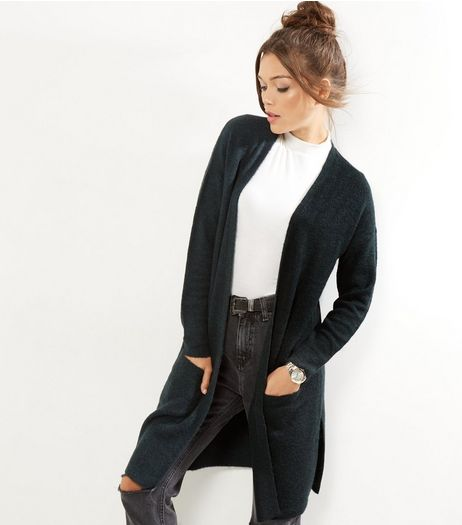 Teal Ribbed Longline Cardigan | New Look