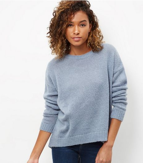 Pale Blue Ribbed Trim Jumper | New Look