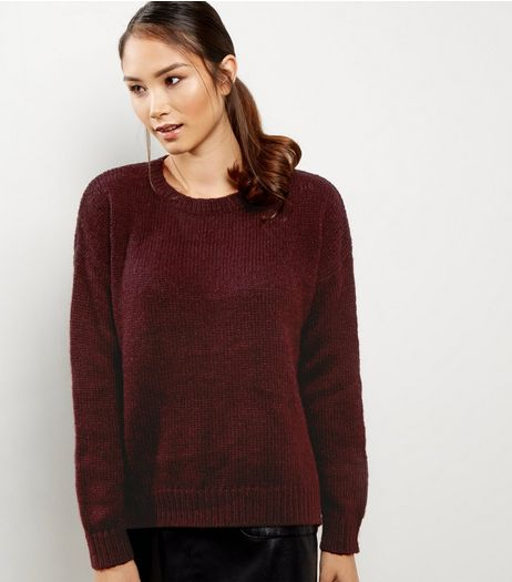 Burgundy Ribbed Trim Jumper | New Look
