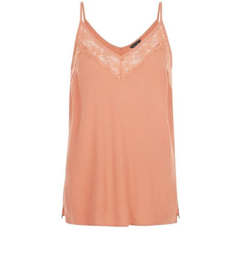 Coral Lace Trim Deep V Neck Cami  | New Look