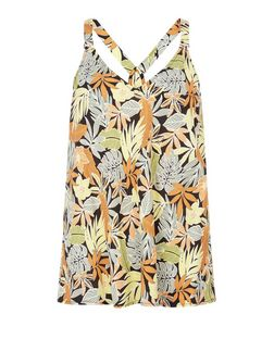 Black Leaf Print Buckle Strap Cami  | New Look