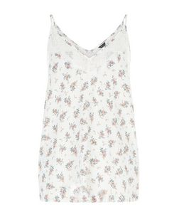 White Ditsy Floral Print Lace Trim Cami  | New Look