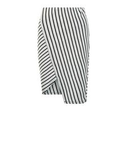 Black Ribbed Stripe Wrap Front Midi Skirt  | New Look
