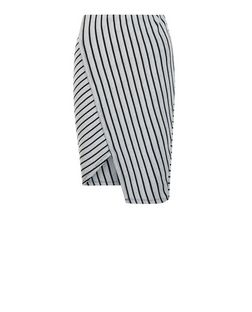 White Ribbed Stripe Wrap Front Midi Skirt  | New Look