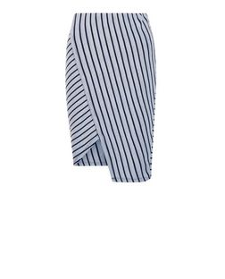 Blue Ribbed Stripe Wrap Front Midi Skirt  | New Look