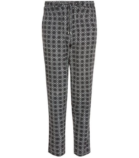 Black Tile Print Slim Leg Trousers  | New Look