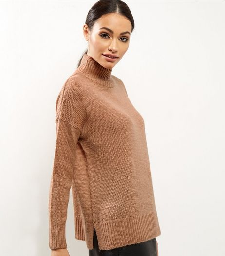 Camel Turtle Neck Jumper  | New Look