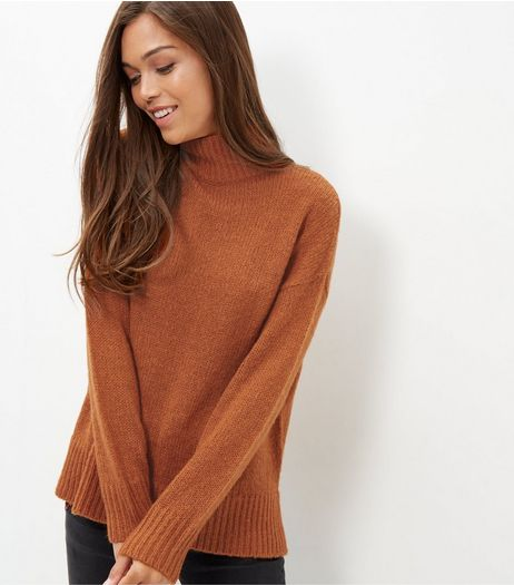 Rust Funnel Neck Ribbed Jumper  | New Look