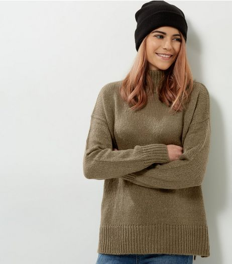 Olive Green Turtle Neck Jumper | New Look